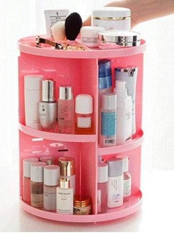 360 Degree Rotating Round Makeup Storage Rack