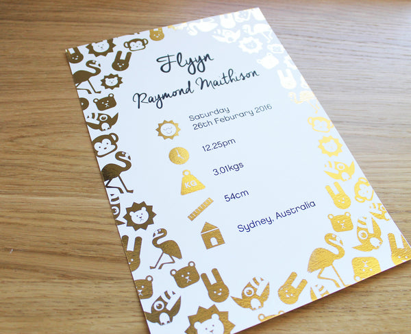 Foil Animal Personalised Birth Print A4