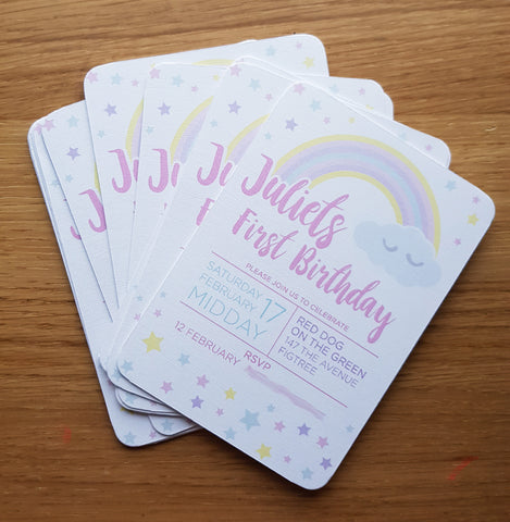 Sleepy Rainbow Custom Party Invite