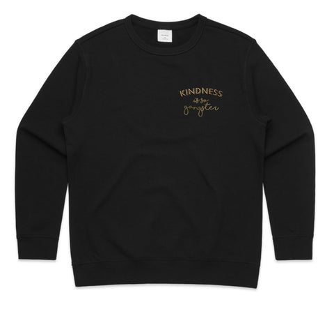 Women's Kindness is so Gangster Premium Crew Sweat - Black & Gold