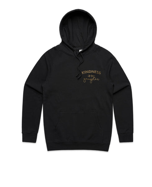 WOMENS Kindness is so Gangster Hoodie - Black & Gold
