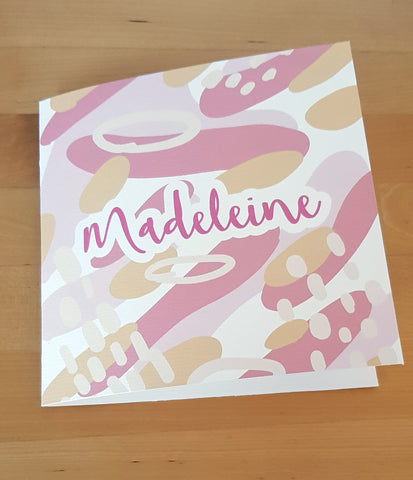 Custom Name Card - Abstract Patterns - Dusty Pinks
