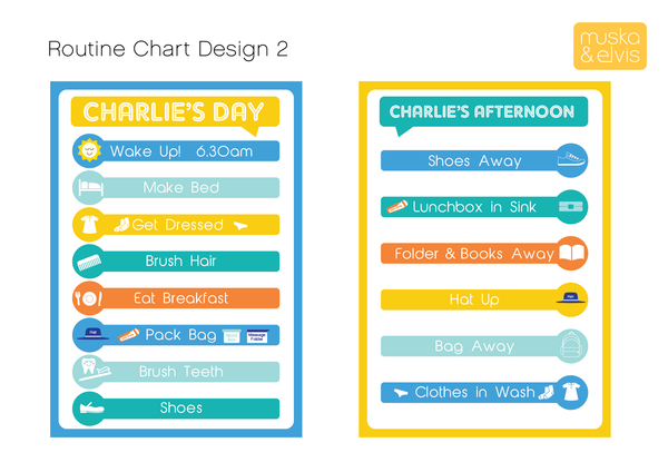 Personalised Morning & Afternoon Routine Charts (Printables)