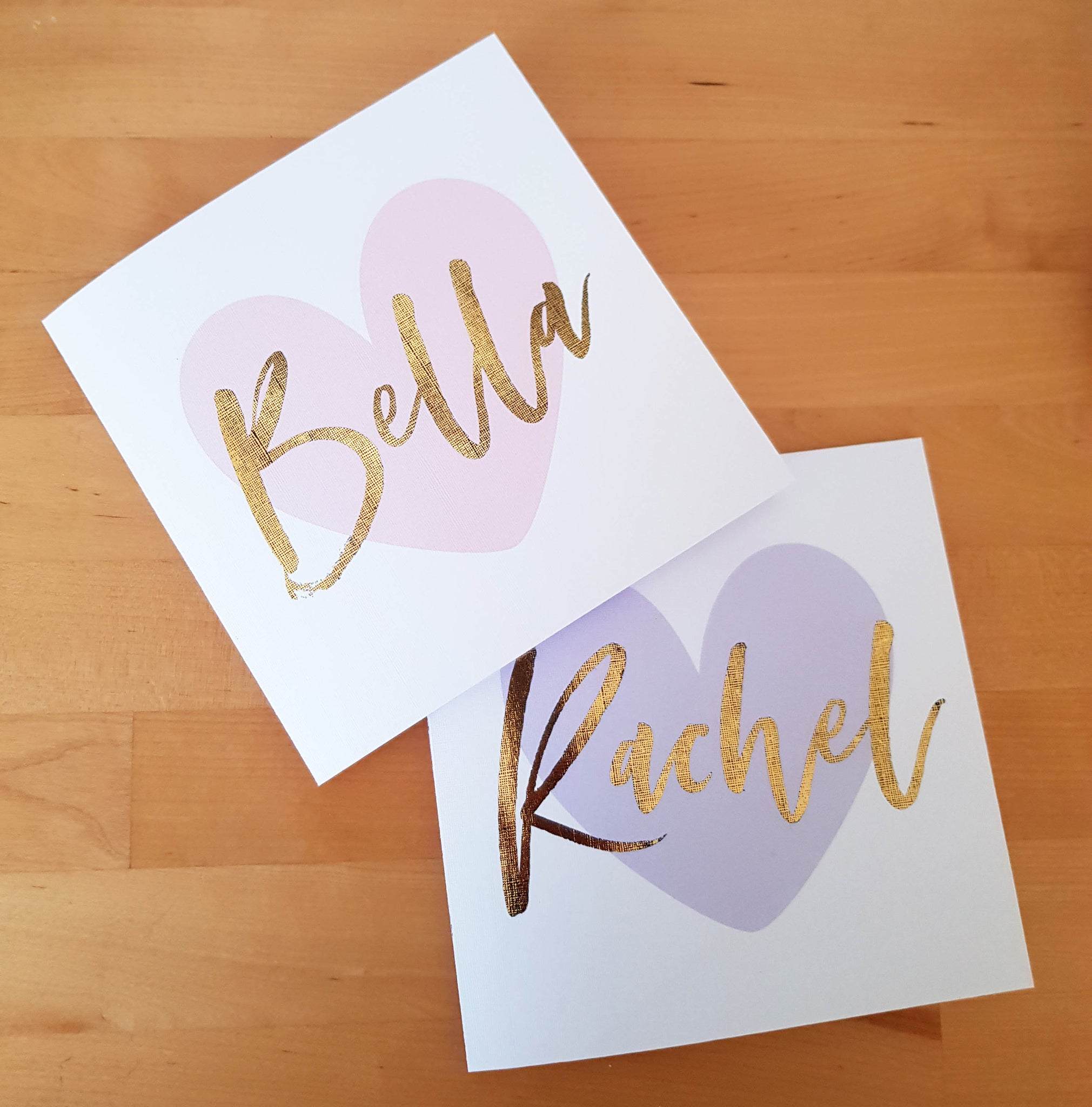 Foil Custom Name Card - Brush & Heart