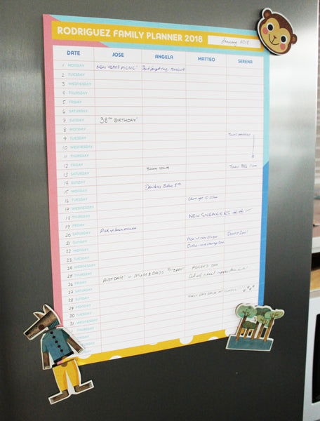 Personalised Printable Family Planner - Colour Pop