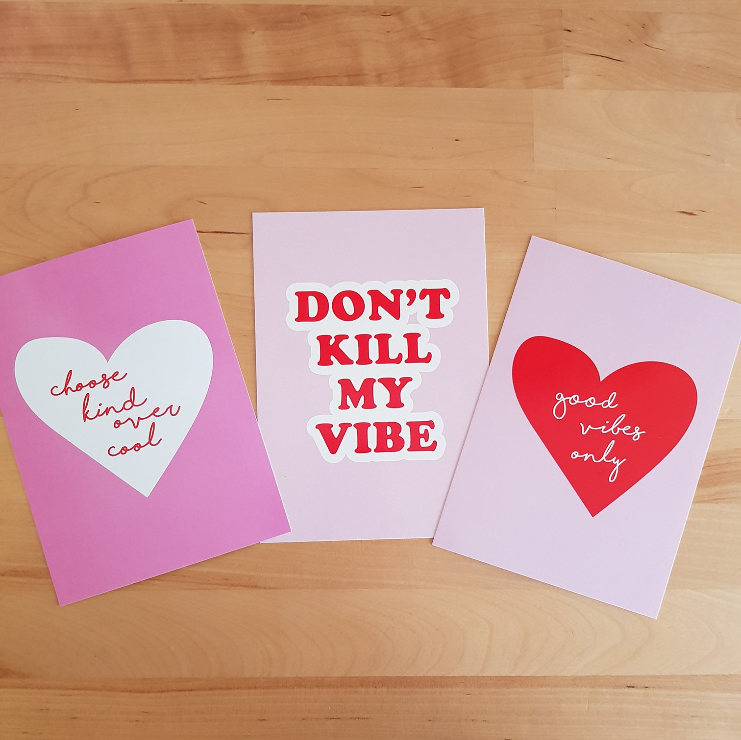 Set of 3 x postcards - The pink and red crew - Good Vibes Only, Choose Kind Over Cool, Don't Kill My Vibe. *Free shipping in Aust