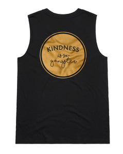 Women's Kindness is so Gangster Sleeveless Tank - Black & Gold