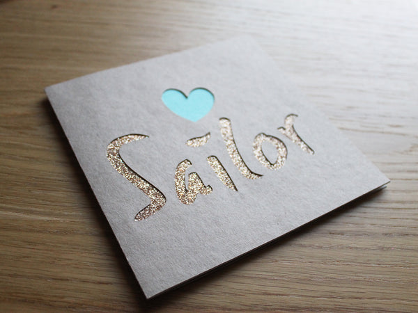 Personalised name cut out cards