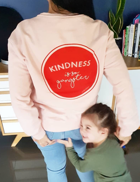Women's Kindness is so Gangster Premium Crew Sweat - Pink & Red