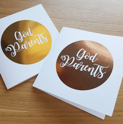 Foil Godparents/Godmother/Godfather Greeting Card (Various colours)