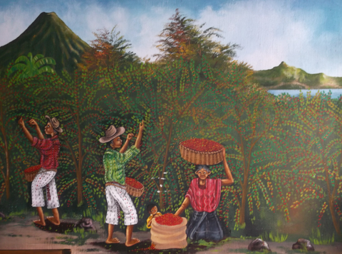A mural in Guatemala of Mayans working in the coffee plantation.