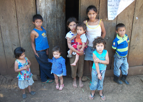 Children of coffee pickers, left alone in the village. Elba took this picture in Nicaragua.