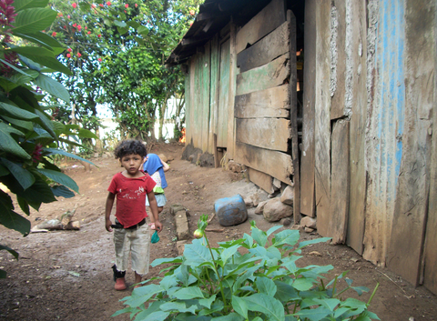 This young boy is keeping guard of his family's home, while his parents are picking coffee in the plantations.