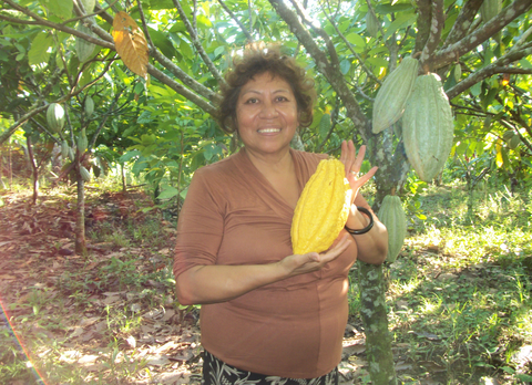 Elba holding a cacao pod in Nicaragua. Hard to imagine that the chocolate we all know and love comes from this pod.