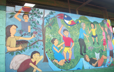 Elba took this picture of a mural in Nicaragua. Notice the coffee pickers in this picture are not smiling.