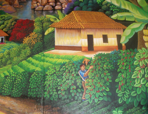 Elba found this mural of coffee pickers on the wall of a restaurant in Guatemala.