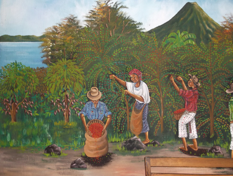 All throughout the Central American countries, you're likely to find murals depicting the coffee harvests.
