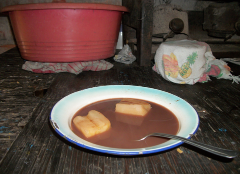 Here is some yuca soup with tortillas, a typical meal for coffee pickers in El Salvador.