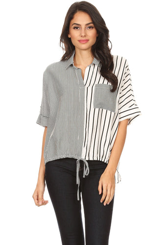 [22432] Striped, color block, tunic top in a loose fit with a rolled collar, front pocket, short sleeves, drawstring waist tie, and hi-low hem.