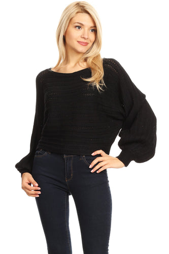 [22466] Knit, waist length, sweater top in a loose fit with a boat neckline and puffy long dolman sleeves.