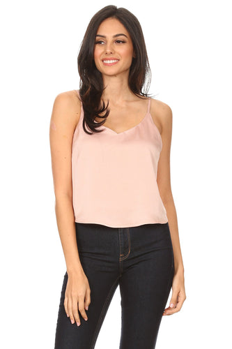 [22717] Solid, satin waist length top in a relaxed fit with a v-neckline, spaghetti straps, and open back.