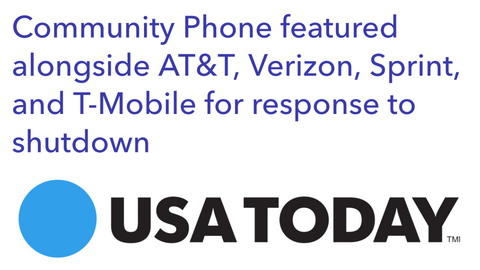 Community Phone featured in USA Today alongside Sprint, T-Mobile, AT&T, and Verizon