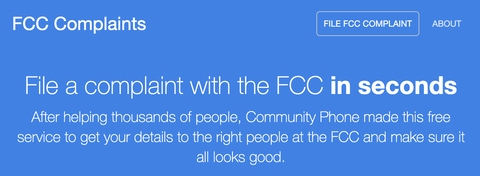 Community Phone launches FCC Complaints at FCCComplaints.com