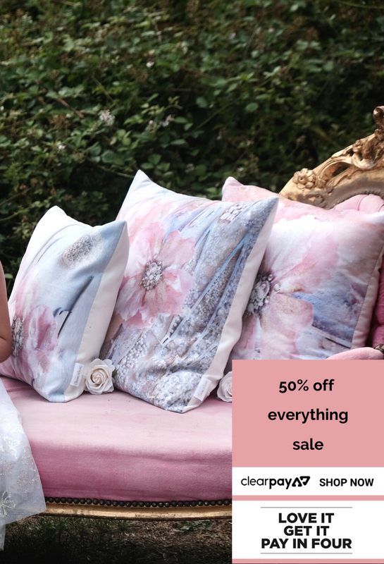 Blessed Sharon White Art Queen of Cushions 50% Off Sale