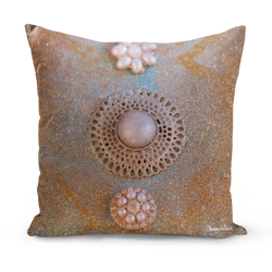 Sharon White Art Ascension Chakra Medium Cushion in gold with pearls
