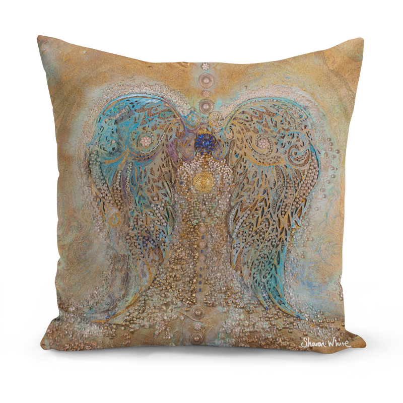 Ascension Large Cushion Blue and Gold Cushion pillow sharon white art