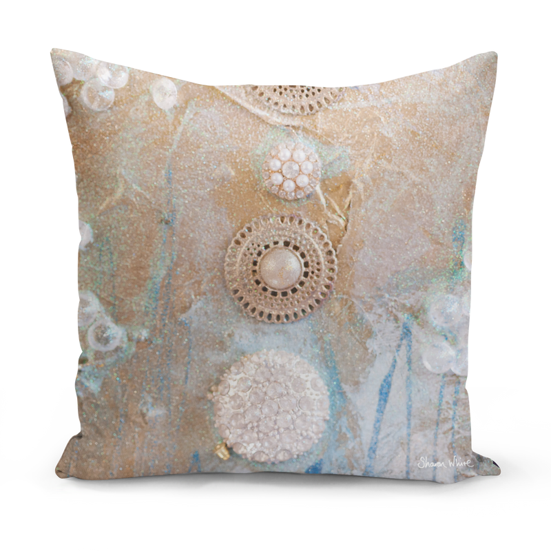 Sharon White Art Gold Medium Cushion
