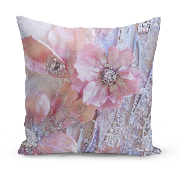 Sharon White Art Pink Floor Cushion