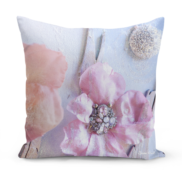 Sharon White Art Pink Floor Cushions