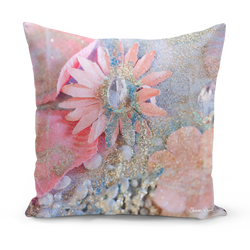 "Sharon White Art Lightness of Being Arabian Pink Medium Cushion 18"" pink and gold pillow cushion sharon white art"
