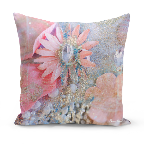 Sharon White Art Lightness of Being Arabian Pink Medium Cushion 18""