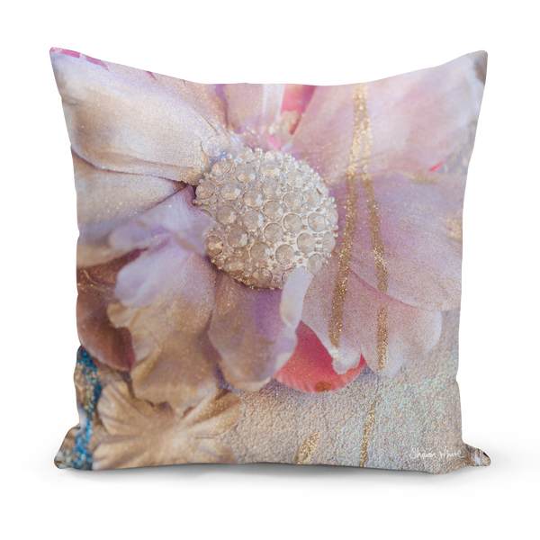 Sharon White Art pink and gold cushion in medium and large