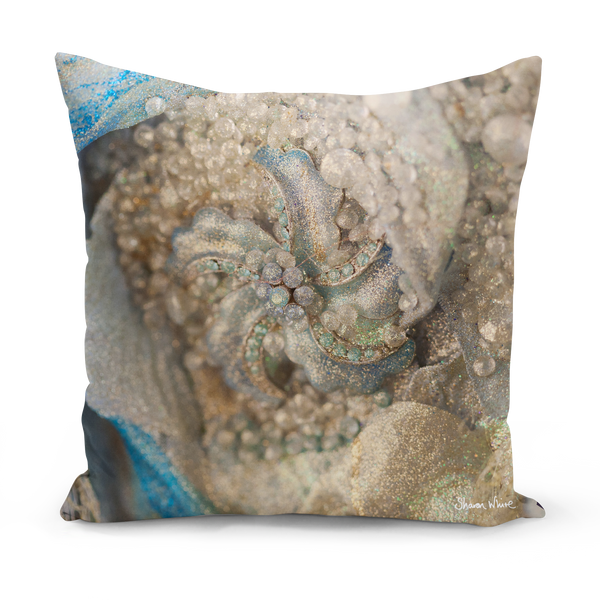 Sharon White Art blue and gold cushion in medium and large