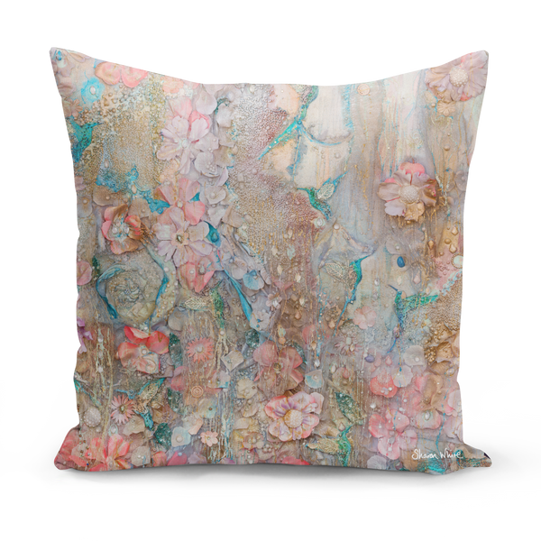 Lightness of Being Gold Pink and Beige Printed Cushion