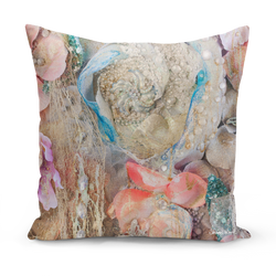Sharon white art Lightness of Being Protected Medium Cushion pink and blue 22""