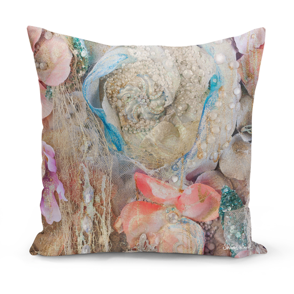 "Sharon white art Lightness of Being Protected Medium Cushion pink and blue 22"" pink and gold pillow cushion sharon white art"