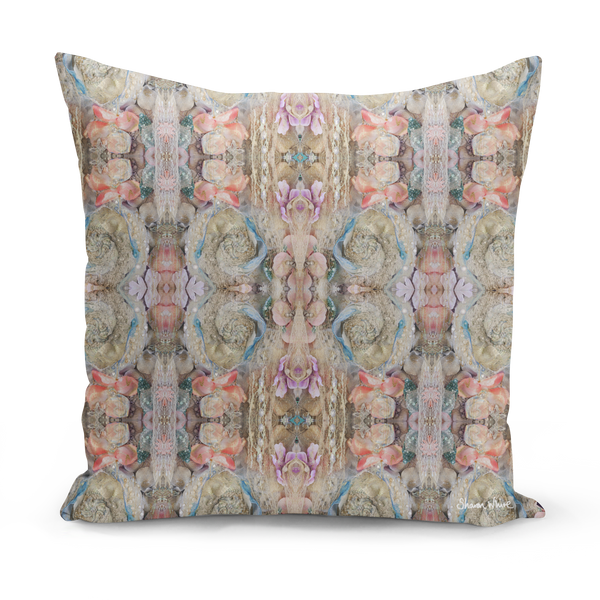 Sharon White Art Pretty n Pink floral cushion pink and gold pillow cushion sharon white art