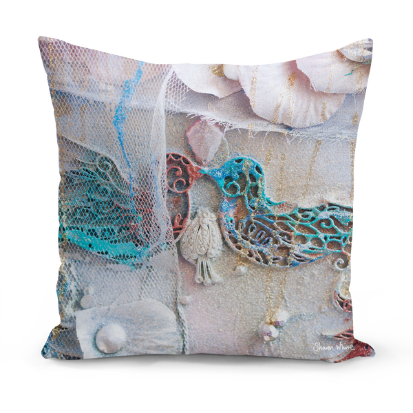 Sharon white art Lightness of Being The Kiss Cushion turquoise 22""