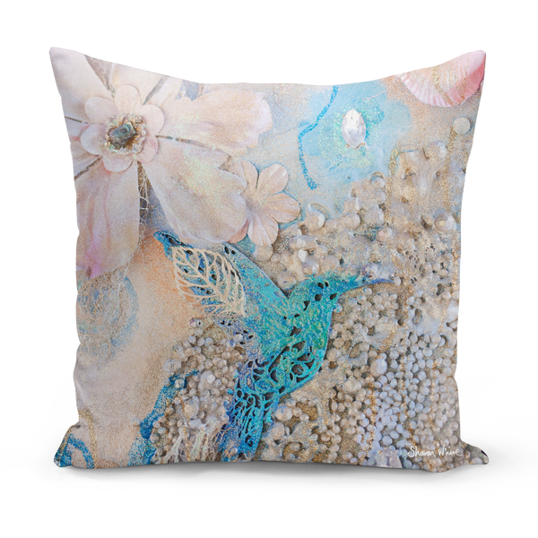 Sharon White Art humming bird medium cushion pink and gold pillow cushion sharon white art