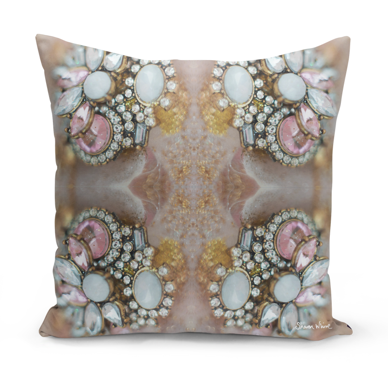 Sharon White Art Pink Crystal Cushion