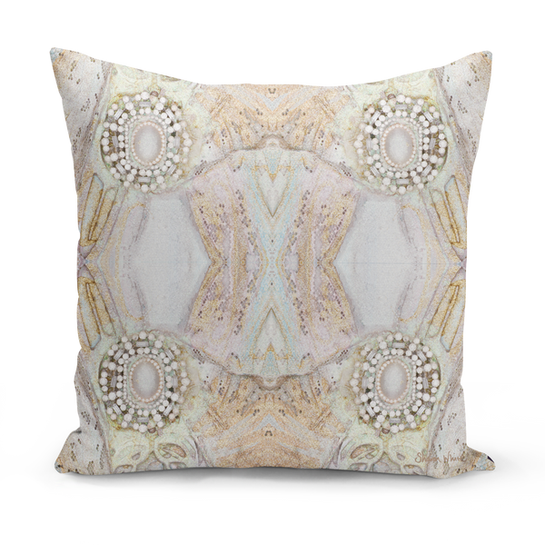 Sharon White Art Beige Cushion medium Gold pillow cushion sharon white art