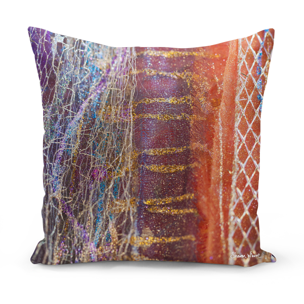 Sharon white art purple stripe Cushion purple medium cushion