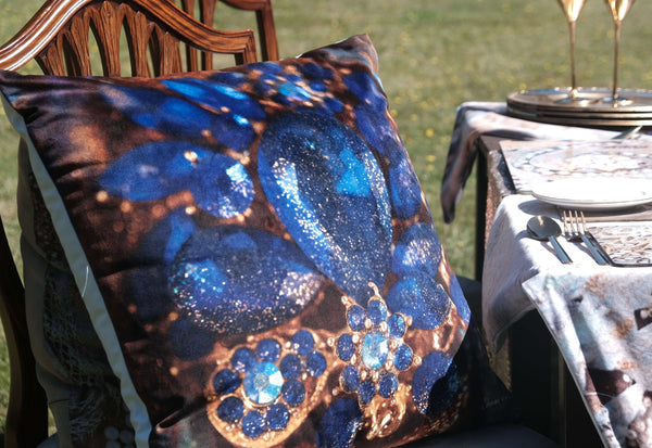 blue pillow cushion sharon white art