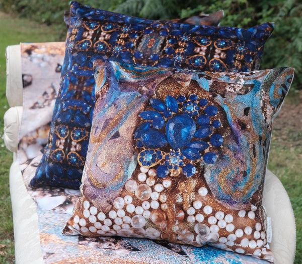 blue Gold pillow cushion sharon white art
