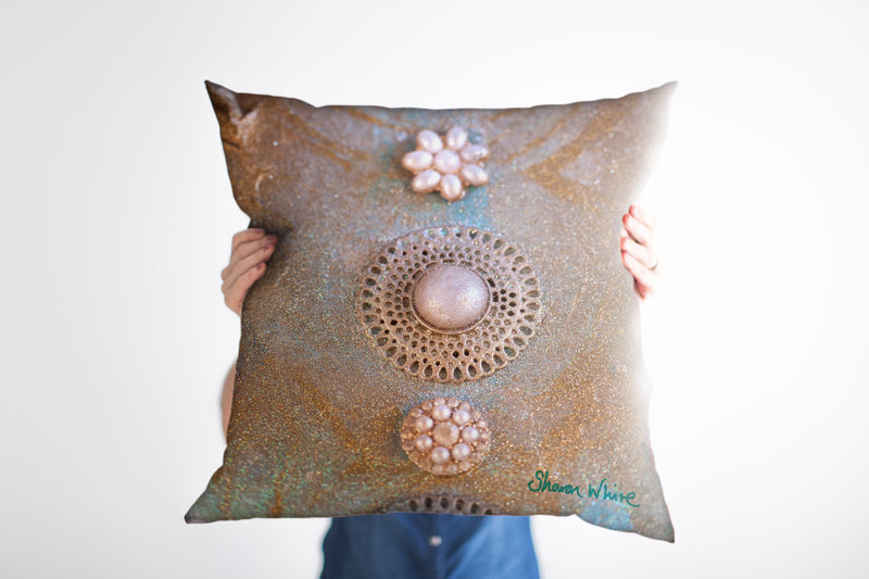 Sharon White Art Ascension Chakra Cushion in gold with pearls