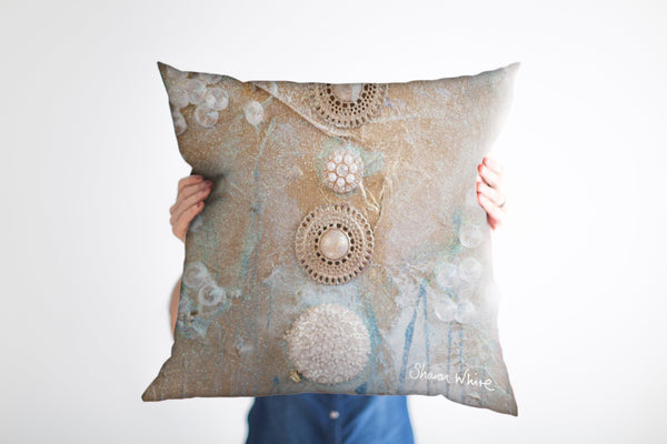 Sharon White Art Ascension Quiet Cushion in gold and pearl